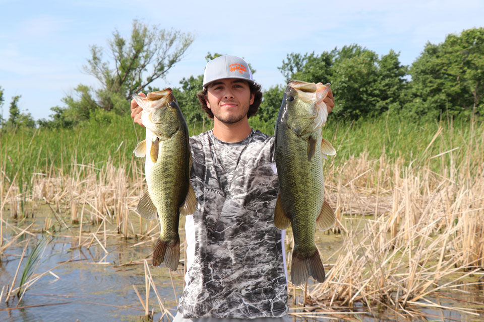 Tristen Turley bass fishing with a jig