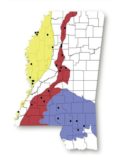 capture locations of does in Mississippi