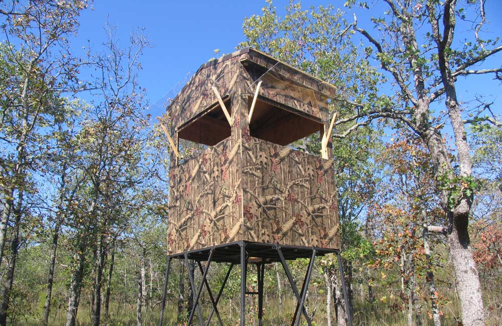 elevated blind with camo exterior