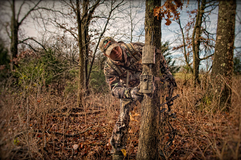 hunter checking trail camera
