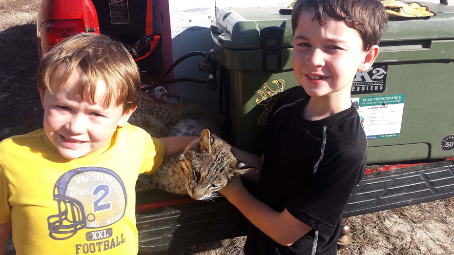 Johnson children trapping bobcat