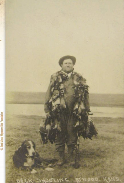 old photo of waterfowl hunter