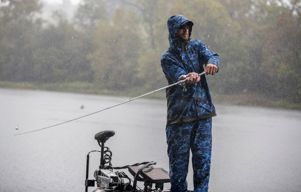 Ott DeFoe rainy fishing