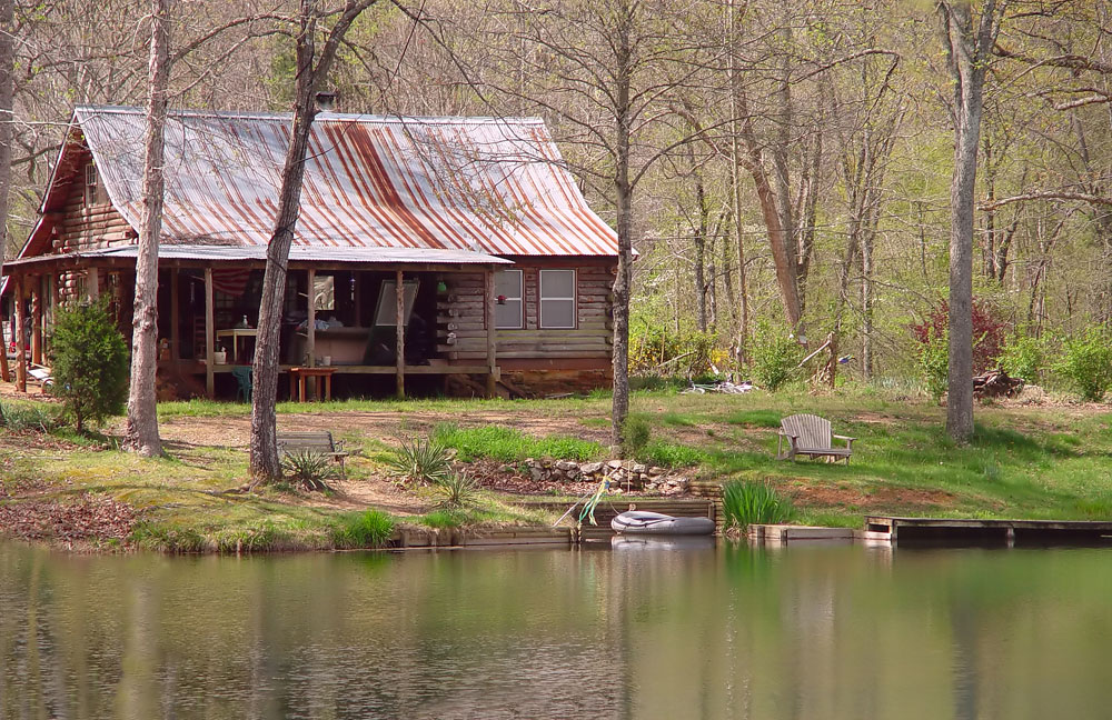 cabin by lake