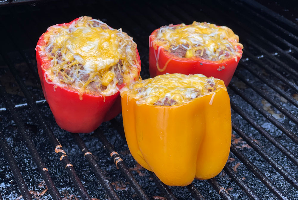 stuffed bell peppers on the grill