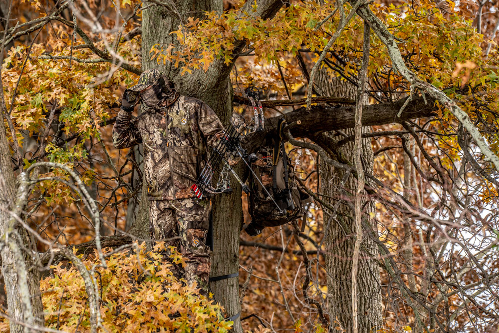 hunter in treestand bowhunting