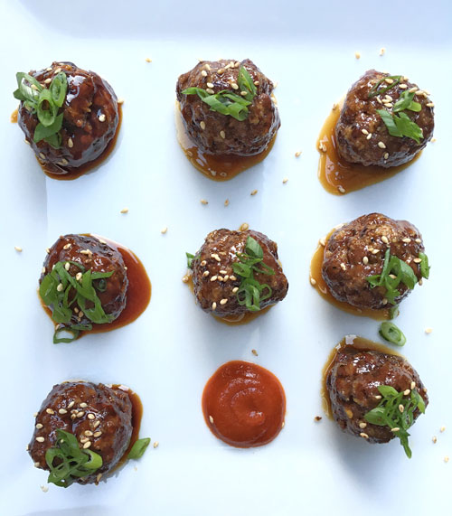 spicy asian glazed venison meatballs