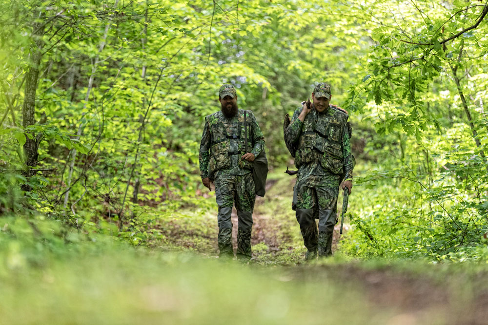 turkey hunters walking